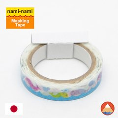 Washi Tape Nami-Nami Baleias Pattern - BORDA RECORTADA - 8mm x 5M