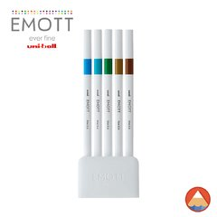 Caneta Uni EMOTT Fineliner 0.4 - ISLAND COLOR Nº4 - KIT 5 CORES