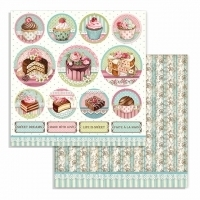 "Papel 30.5x30.5cm (12""x12"")  - Sweety Chocolate Mini Cakes Rounds"