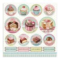 "Papel 30.5x30.5cm (12""x12"")  - Sweety Chocolate Mini Cakes Rounds - comprar online"