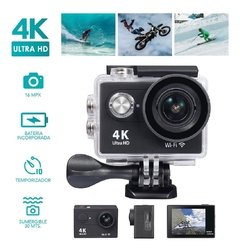 Cámao Plus Pro Resolucion Full Hd 4k 16mp Lcd Sumergible Accesorios Deportes Extremos Surfra Deportiva G - comprar online