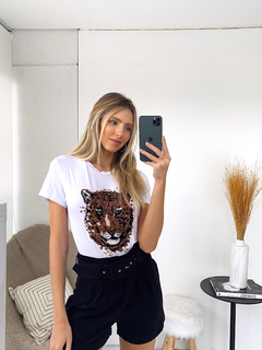 T-Shirt Tiger Aquarela Branco