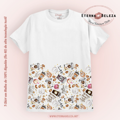 T-SHIRT CAMISETA FEMININA MANGA CURTA BRANCA COFFEE TIME
