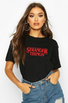 T-SHIRT CAMISETA FEMININA MANGA CURTA PRETA STRANGER THINGS