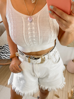 Cropped Tricot Branco na internet