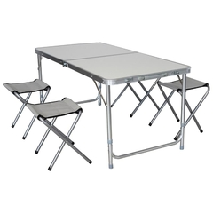 MESA CAMPING ALUMINIO PLEGABLE C/SILLAS OUTDOORS PROFESSIONAL (ME139)
