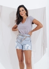 Short Jeans Mom Correntinha Lateral