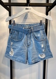 Short Cinto Forrado Cintura Alta Jeans Claro - The Blend Shop