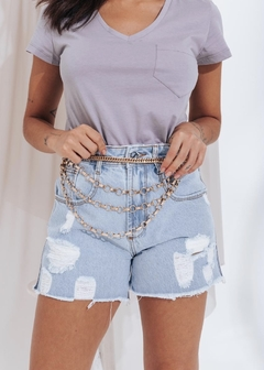 Short Jeans Mom Correntinha Lateral - comprar online