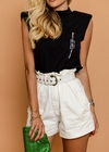 Short Jeans Clochard Com Cinto Off White