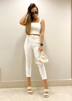 Blusa Cropped Alfaiataria Recortes Bruna Off White