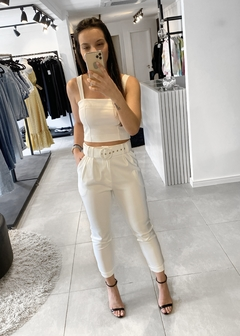 Blusa Cropped Alfaiataria Recortes Bruna Off White - The Blend Shop