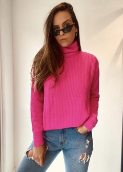 Blusa Tricot Gola Alta Pull Rosa Pink - The Blend Shop