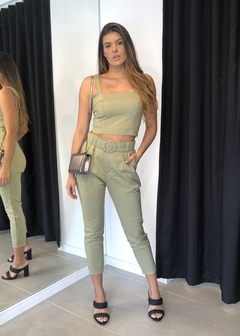 Blusa Cropped Alfaiataria Recortes Bruna Verde - The Blend Shop