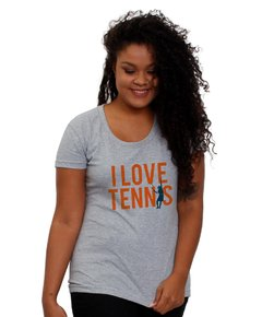 Baby Look Cinza - I Love Tennis
