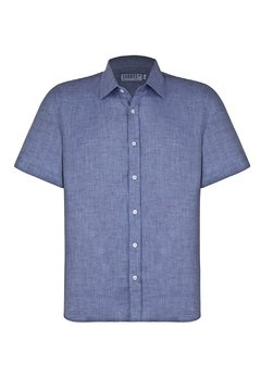 Jeans Short Sleeve Linen Shirt