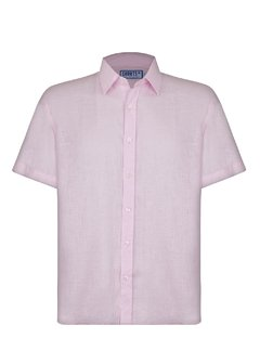 Pink Short Sleeve Linen Shirt