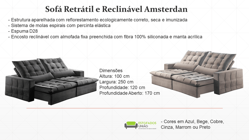 Sofa Retratil E Reclinavel Amsterdan