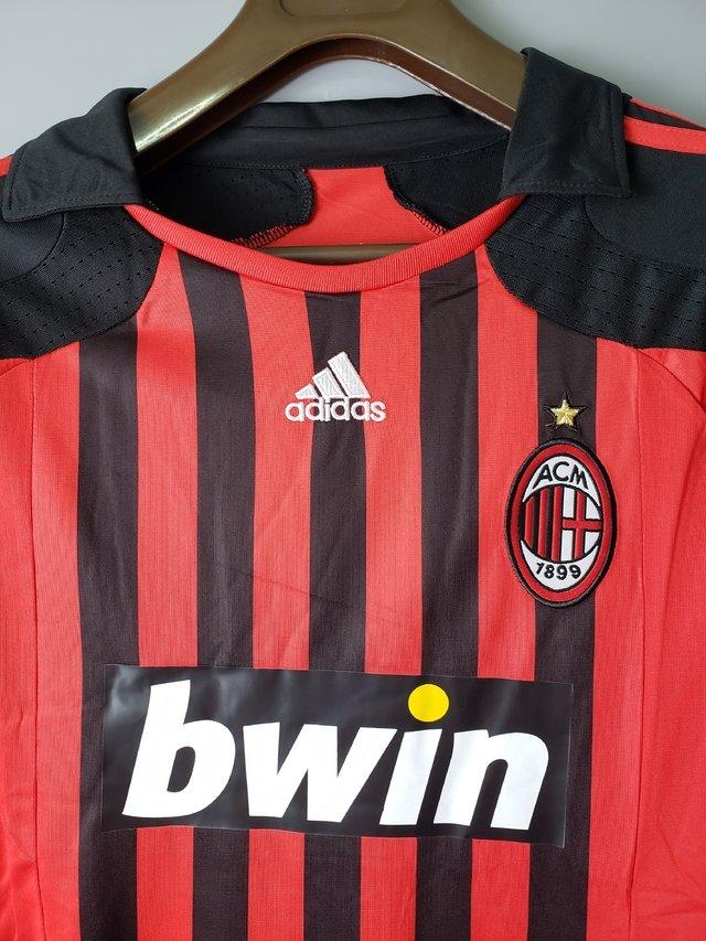 Camisa Retro Milan 2007 08 Manga Longa Os2sports