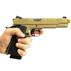 PISTOLA DE AIRSOFT À GÁS GBB GREEN GÁS R27 1911 M.E.U. BLACK/TAN FULL METAL BLOWBACK 6MM - ARMY