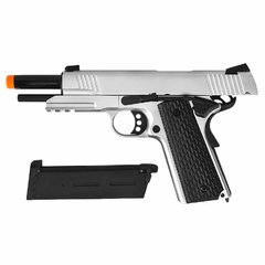 PISTOLA DE AIRSOFT À GÁS GBB GREEN GÁS R28 M1911 WARRIOR SILVER BLOWBACK 6MM - ARMY na internet