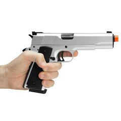 PISTOLA DE AIRSOFT À GAS GREEN GAS 1911 MKIV70 SILVER FULL METAL BLOWBACK- ARMY - comprar online
