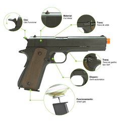 PISTOLA DE AIRSOFT À GÁS GBB GREEN GÁS M1911 A1 FULL METAL BLOWBACK 6MM - ARMY - comprar online