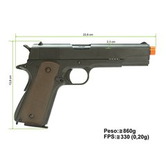 PISTOLA DE AIRSOFT À GÁS GBB GREEN GÁS M1911 A1 FULL METAL BLOWBACK 6MM - ARMY na internet