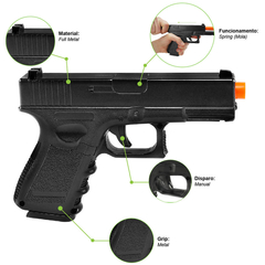 PISTOLA DE AIRSOFT SPRING G15 FULL METAL 6MM - GALAXY - loja online