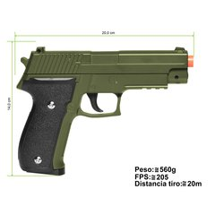 PISTOLA DE AIRSOFT SPRING G26 SIG SAUER P226 G26G GREEN FULL METAL 6MM - GALAXY na internet