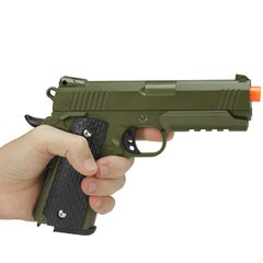 PISTOLA DE AIRSOFT SPRING 1911 WARRIOR VERDE OLIVA FULL METAL 6MM - GALAXY - loja online