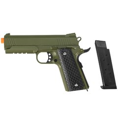 Imagem do PISTOLA DE AIRSOFT SPRING 1911 WARRIOR VERDE OLIVA FULL METAL 6MM - GALAXY