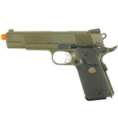 PISTOLA DE AIRSOFT À GÁS GBB GREEN GÁS 1911 MEU OD FULL METAL BLOWBACK 6MM - WE