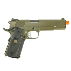 PISTOLA DE AIRSOFT À GÁS GBB GREEN GÁS 1911 MEU OD FULL METAL BLOWBACK 6MM - WE - comprar online
