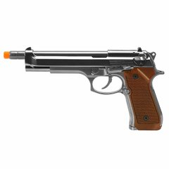 PISTOLA DE AIRSOFT À GÁS GBB GREEN GÁS M92 CROMADA LONGA FULL METAL BLOWBACK 6MM - WE