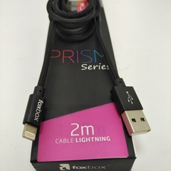 Cable FoxBox Prism LIGHTNING 2mts Negro 105754 - comprar online