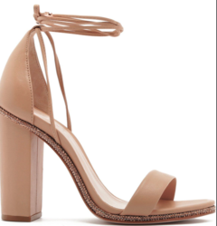 SANDÁLIA SALTO GROSSO LACE-UP GLAM NUDE