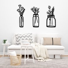 WALL ART MADERA - FLOWER VASE