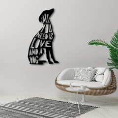WALLART MADERA - ALL YOU NEED IS LOVE & A DOG