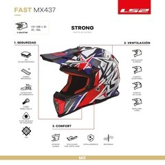 Casco De Cross Moto Ls2 437 Fast Strong Blue Red Yuhmak - tienda online
