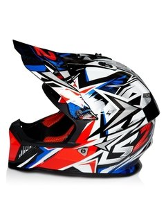 Casco De Cross Moto Ls2 437 Fast Strong Blue Red Yuhmak en internet