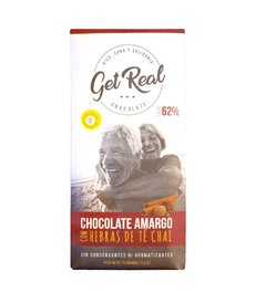 Chocolate Amargo 62% con Té Chai - GET REAL