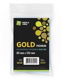 Pacote C/ 100 Sleeves Meeple Virus - Gold Premium 80x120mm (blue core)