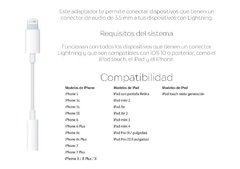Adaptador Auricular iPhone Lightning - Miniplug 3.5mm wuw en internet