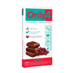 CHOCOLATE 70% CACAU COM CRANBERRY 80G - ONLY 4