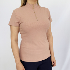 BLUSA MC RIB DECOTE ZIPER ROSE G - D1 Look