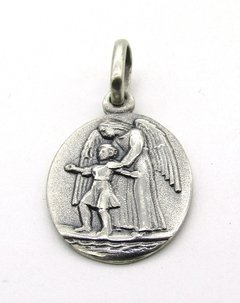 Medalla Angel De La Guarda  A  16mm Oval Plata 925 (122641)