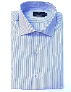Camisa Formal Blanco Raya Azul Custom Fit South Fox