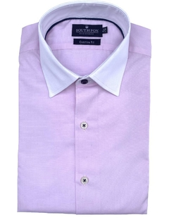 Camisa Custom Fit Rosa cuello Blanco South Fox