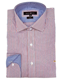 Camisa Rayita Rojo/Azul Slim Fit South Fox